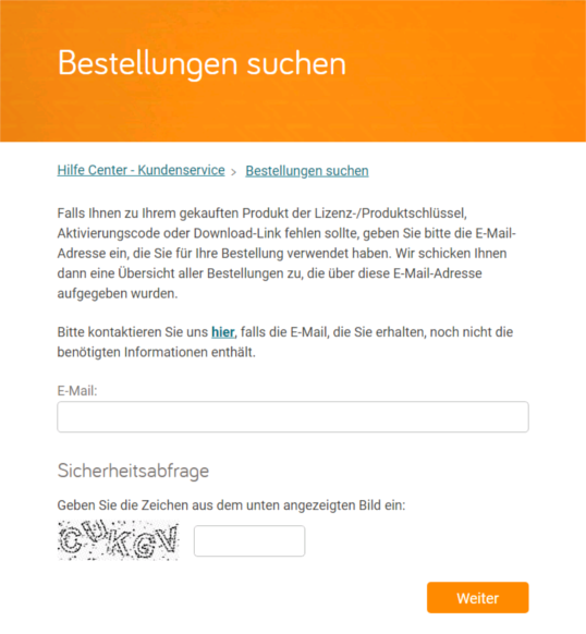 Cleverbridge Bestellsuche